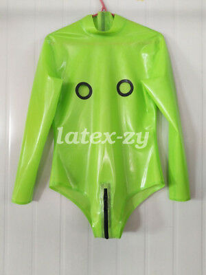 Gummi Zipper Fitness Bodysuit Fashion Grün Catsuit Cool Latex Auzug Kostüm S-XXL