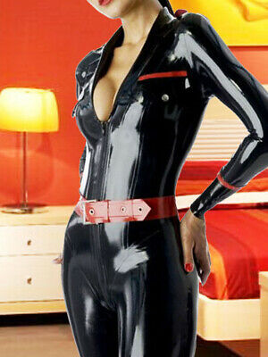 Latex Rubber Sexy Open Collar Schwarz&Rot Women Full Gummi Catsuit 0.4mm S-XXL