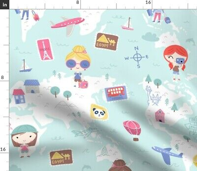 World Map Kids Explore Travel Girls Children Fabric Printed by Spoonflower BTY