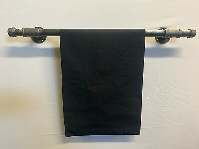 Industrial Rustic towel rail Iron Wall Mounted Pipe Black Bathroom T ends