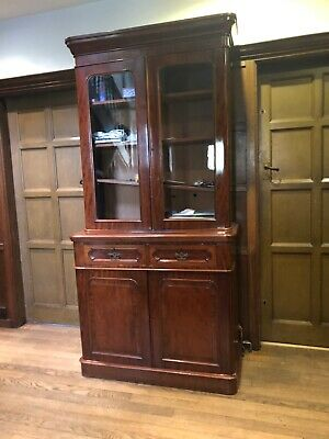 Victorian mahogany bookcase, cupboards & drawers below, glazed, stunning wood