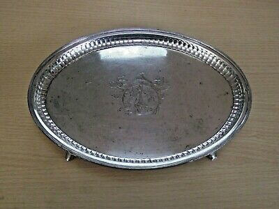 Antique Georgian Silver Plate On Copper Small Oval Tray With Crest