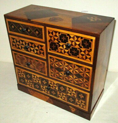 SUPERB 12 INCH Sq ANTIQUE JAPANESE TABLE TOP COLLECTORS/TRINKET CABINET