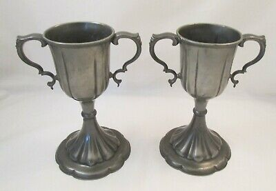 A Good Pair of Pewter Chalices / Trophies - Dixon & Sons - c1900
