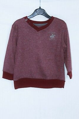 Beverly Hills Polo Club Burgundy V-Neck Thin Knitted Jumper age 3 Years