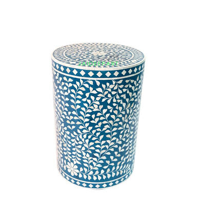 Handmade Bone Inlay Floral Leaf Blue Round Side Table