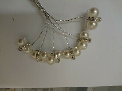 18 diamamte Silver And Ivory Double Pearl Stems, wedding craft.