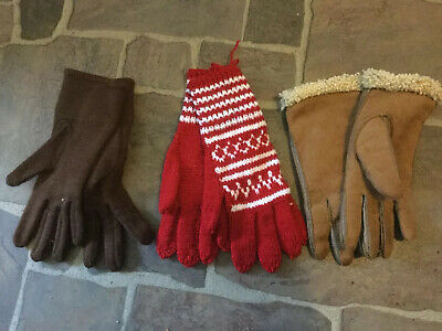 Bundle X 3 Pairs Of Vintage Ladies Gloves, Sheepskin, Handknitted