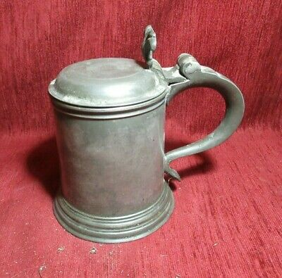 Antique 19 Th Century Pewter Lidded Pint Tankard Touchmarks Crown X Rose