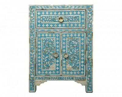 Indian Designer Handmade Mother of Pearl Inlay blue Floral Bedside Table