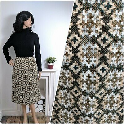 Vintage 60s Green Khaki Welsh Tapestry Wool Geometric Pencil Skirt 8 10 36