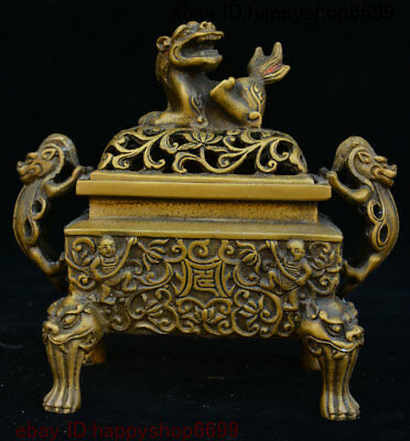 Old Chinese Bronze Tongzi Lion Head Pi xiu Beast Incense Burner Censer Incensory