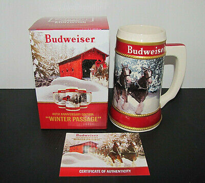 2019 Budweiser 40Th Anniversary Edition Winter Passage Holiday Stein Limited Coa