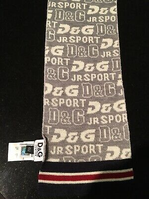 Boys Knitted D&G Grey/ Navy Scarf