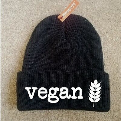 VEGAN KNITTED BLACK BEANIE HAT WINTER EMBROIDERED MEAT IS MURDER ANIMAL LOVER