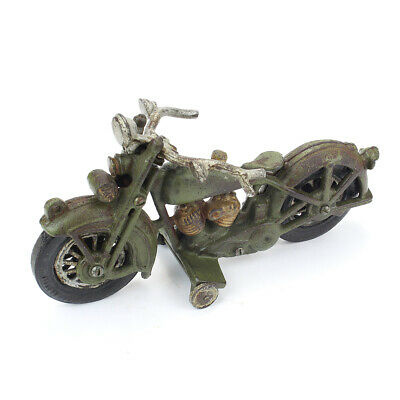 Vintage Large Cast Iron Motorcycle with Front Wheel Clicker