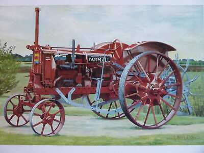 Farmall 1930S F12 With Tiller Rake Colour Vintage Tractor Illustration