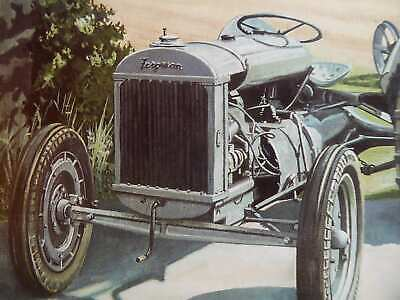 Ferguson Brown 1936 With Plough In England Colour Vintage Tractor Illustration