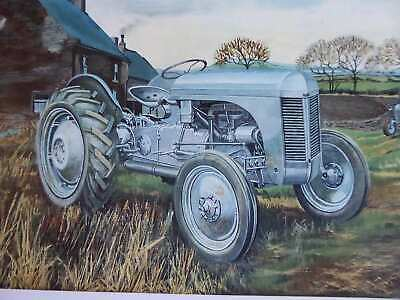 Ferguson Te In English Farm Yard With Barns Colour Vintage Tractor Illustration