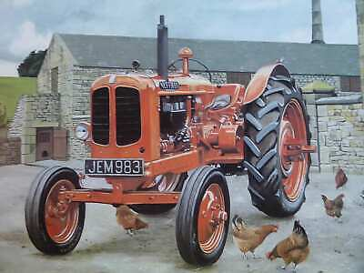 Nuffield M4 Universal English Farm Yard Scene Color Vintage Tractor Illustration