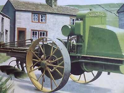 Crawley Motor Plough On British Farm, Colour Vintage Tractor Illustration