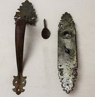 Antique Cast Iron Thumb Handle Push Plate Ornate Church Door Hammered Hardware