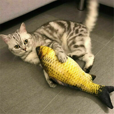 US Realistic Cat Toy Fish Catnip Mint Stuffed Pet Interactive Kitten Play Kicker