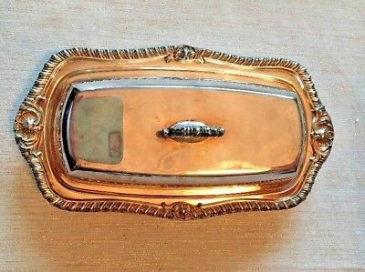 English Silver Plate On Copper Butter Dish_Crown Marked