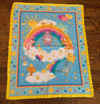 Vtg Care Bear Baby Blanket Quilted Crib Rainbow Trail Stars 34 ×44 Satin Edge
