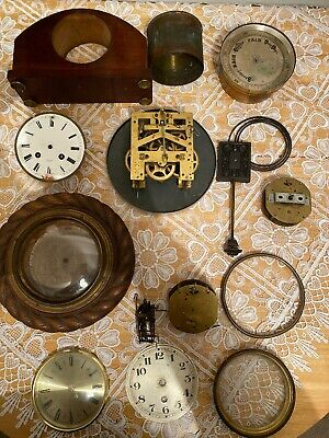 Job Lot Of Vintage Antique Clocks, Parts And Spares Vintage Clocks Mechanisms