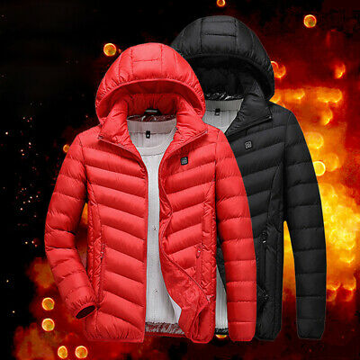 USB Men Electric Heated Coat Jacket Hooded Heating Vest Winter Thermal WarmJB