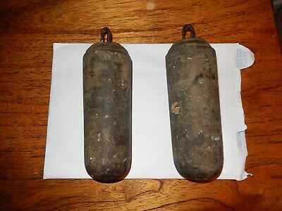 Pair Of Cast Iron Long Case Grandfather Clock Weights