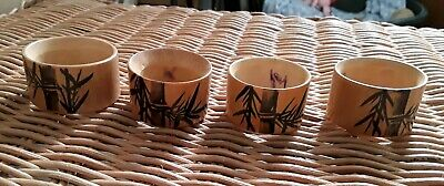 4 Bamboo / Wood Burned Napkin Rings / Serviette Rings