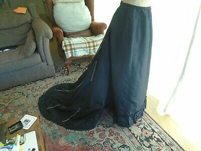 Original Edwardian  Black Taffeta Bustle Skirt