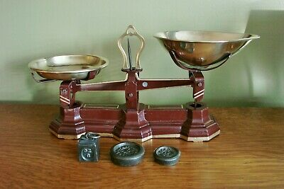 Antique English Candy Balance Scale Brass Pans Scales Vintage Weights Restored