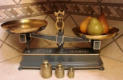 Antique French 10 Kilo Balance Scale Brass Pans Scales Vintage Weights Restored