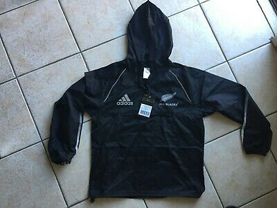 New All Blacks Adidas Kids Windbreaker Hoodie Size 14 100% Authentic
