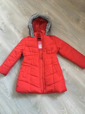 DEBENHAMS Girls Red School Padded Long Fur Hooded Parka Age 9-10 New With Tags