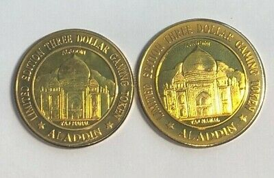Aladdin Resort Casino 1996 1997  Set of 2 $3 Brass Tokens Taj Mahal Sm and Lg
