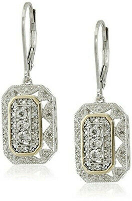 Women's 14k Yellow Gold/Silver white Pendant Art Deco Style Drop Earrings