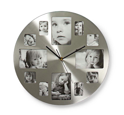 Silver Hanging Modern 12 Multi Photo Family Picture Frame & Time Wall Clock Gift