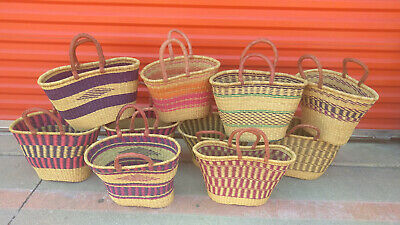 LOT OF 10 AUTHENTHIC Ghana BOLGA Market Basket w// Leather Handle CLEARANCE