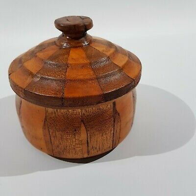 Vintage Hand Tuned Timber Round Box with Lid Hand Made