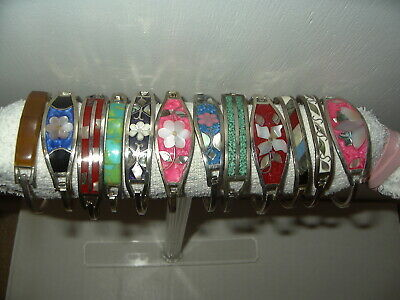 12 Vintage Artisan Mexico Alpaca Taxco Sterling Silver Shell Inlay Bracelets