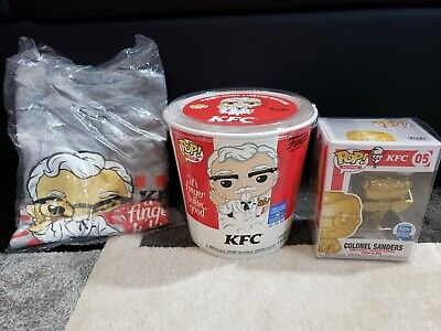 Funko Pop! KFC Gold Colonel Sanders + Tee 2XL Bucket free pop protector
