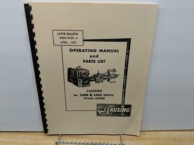 """16758-17434  *1278 Clausing 12/"""" Series 4800  Lathe Operation /& Parts  Manual sn"""