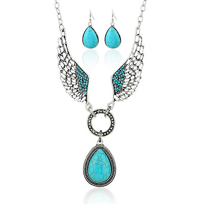 Charm Women Ancient Silver Choker Bib Statement Crystal Wing Turquoise Necklace