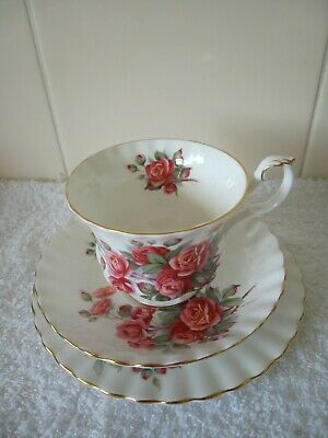 """Vintage  Royal Albert Trio """"Centennial Rose"""" Cup Saucer Plate Never Used"""