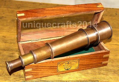 Marine Collectible Solid Brass Nautical Telescope With Box Xmas Handmade Item..