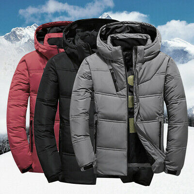 Winter Mens Quilted Duck Down Coat Padded Bubble Puffer Hooded Jacket Parka N FR